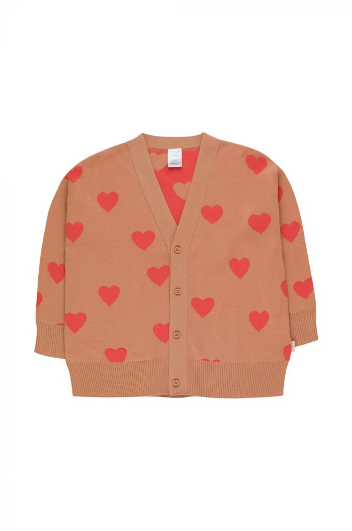 Tinycottons Hearts Cardigan tan/red