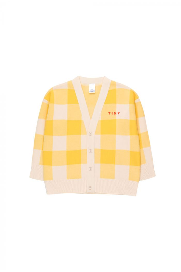 Tinycottons Big Check Cardigan light cream/yellow