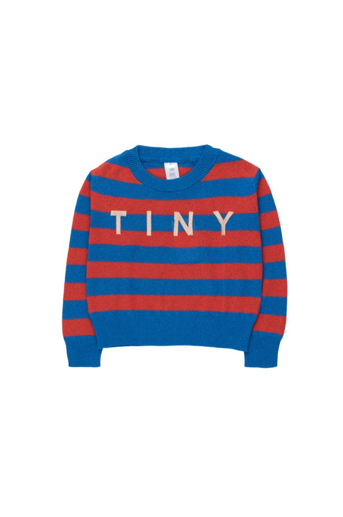 Tinycottons Tiny Shiny Crop Sweater cerulean blue/red