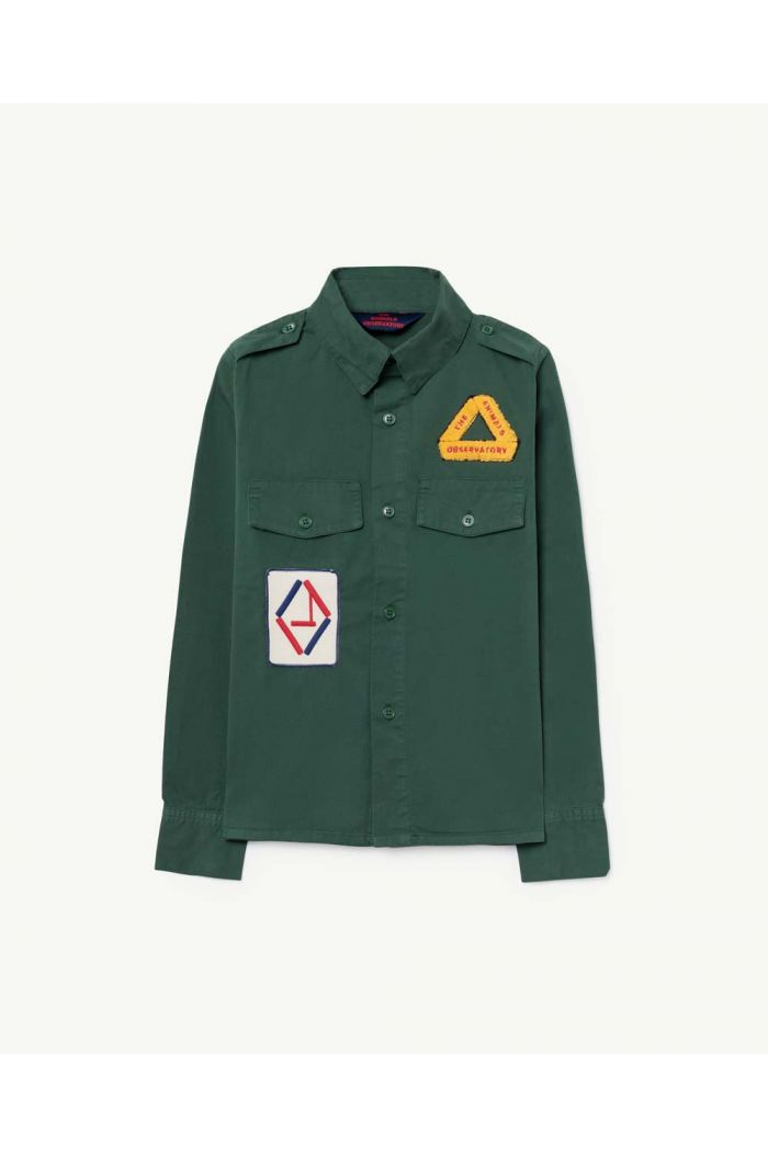 The Animals Observatory TWILL COYOTE KIDS SHIRT Green