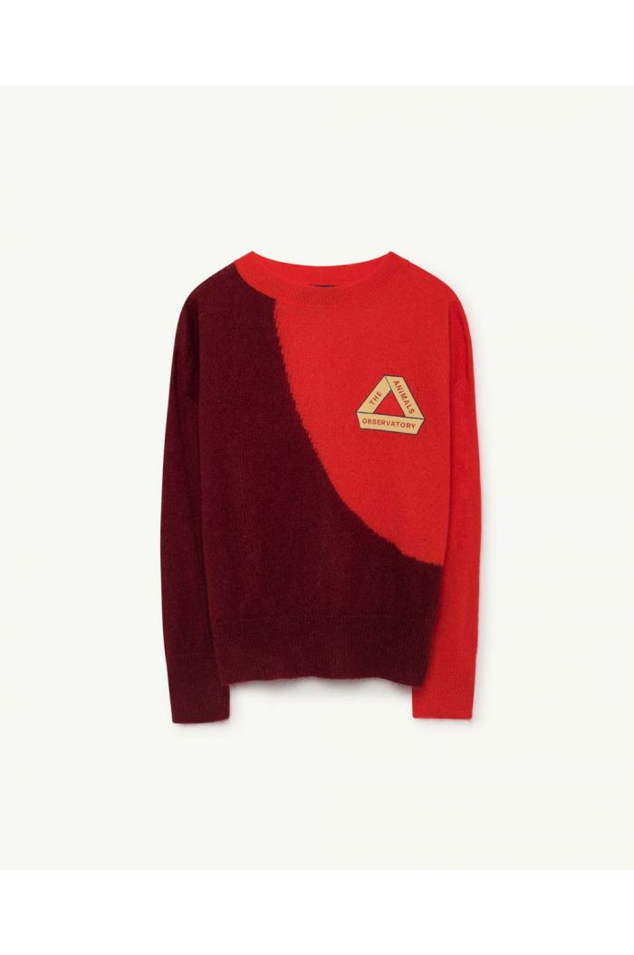 The Animals Observatory BICOLOR BULL KIDS SWEATER Deep Red Triangle