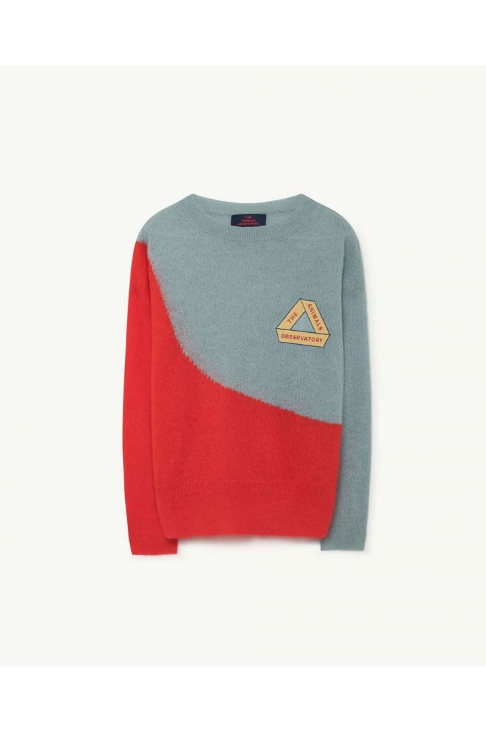 The Animals Observatory BICOLOR BULL KIDS SWEATER Soft Blue Triangle