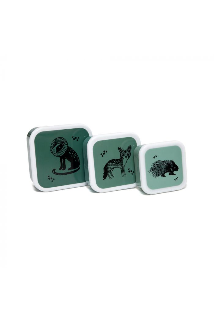 Petit Monkey Lunchbox Set Black Animal