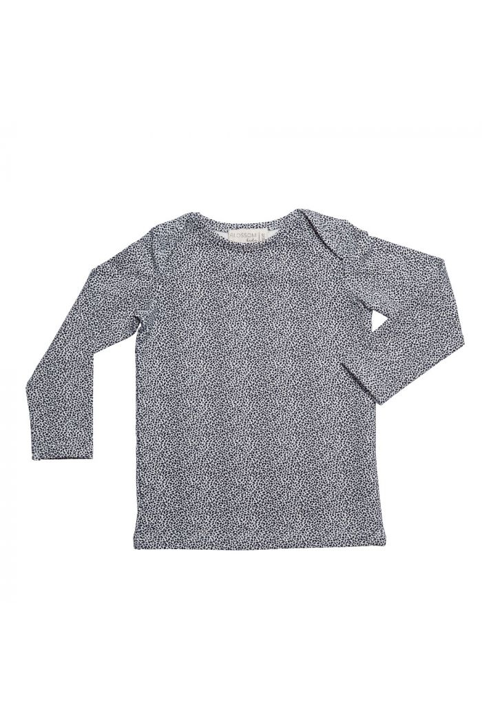 Blossom Kids Shirt long sleeve Dotted Leaves Midnight Blue