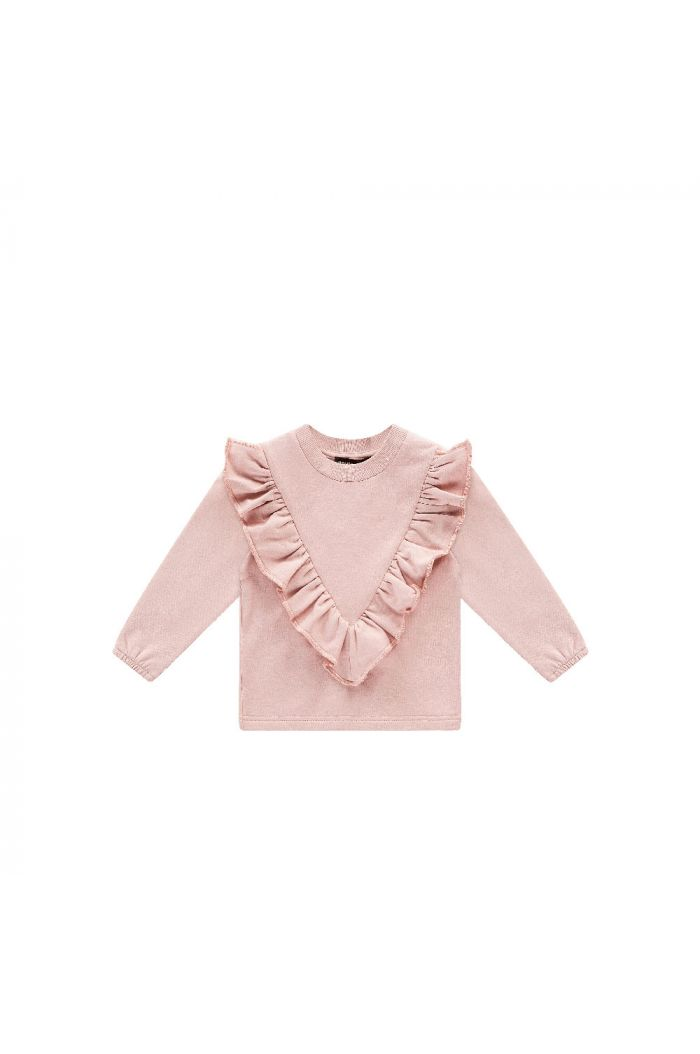 House Of Jamie Front Ruffled Sweater  Powder Pink