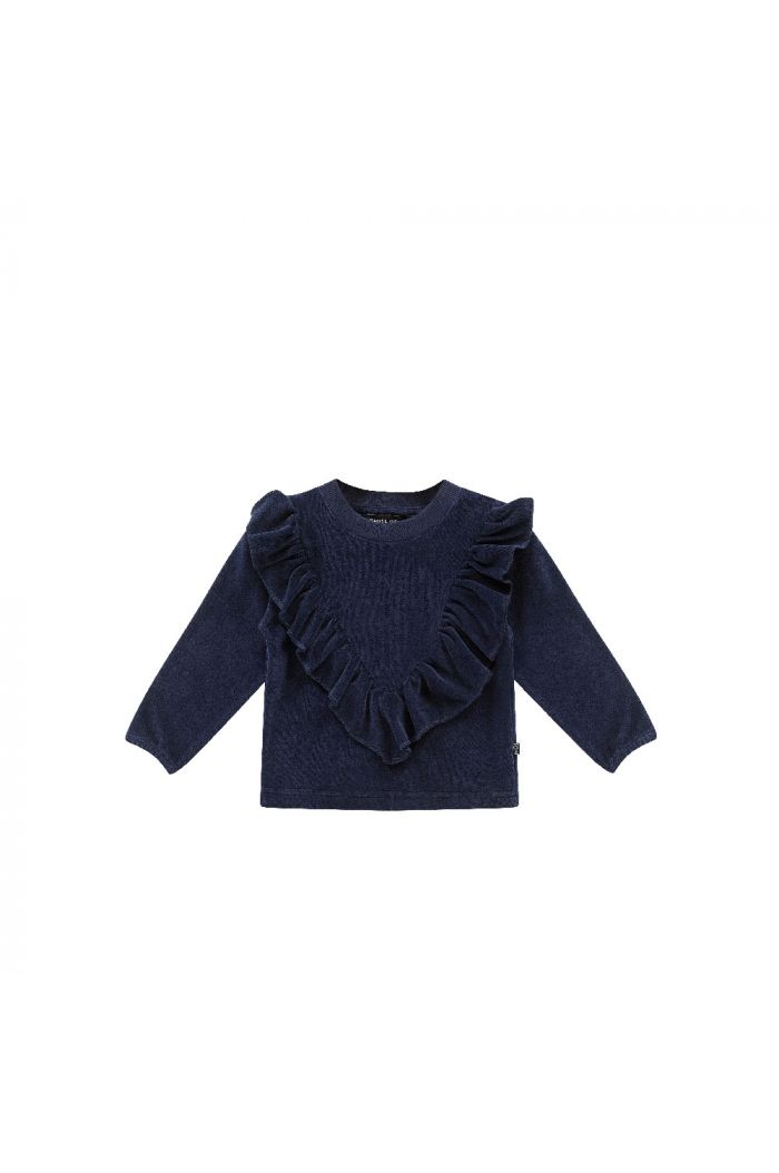 House Of Jamie Front Ruffled Sweater  Midnight Velvet Blue