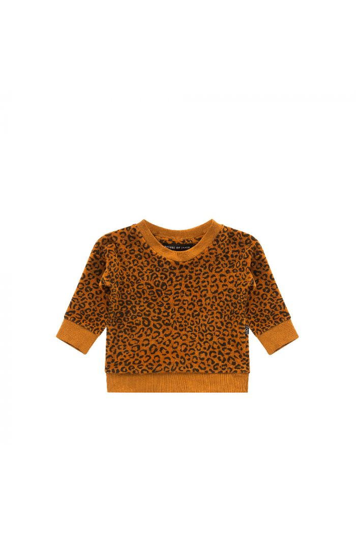 House Of Jamie Crewneck Sweater Golden Brown Leopard