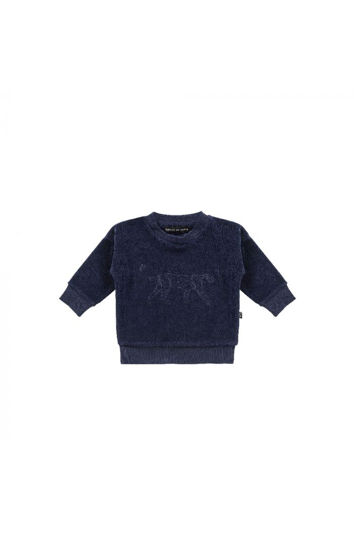 House Of Jamie Crewneck Sweater Midnight Blue Velvet Leo