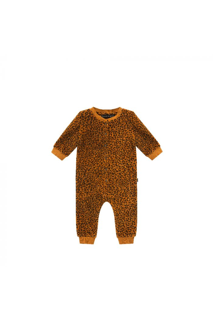 House Of Jamie Baseball Jumpsuit Golden Brown Leopard
