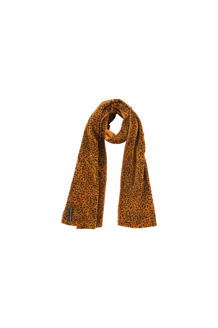 House Of Jamie Long Scarf fleece  Golden Brown Leopard