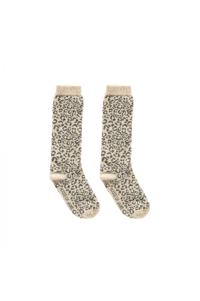 House Of Jamie Knee Socks Caramel Leopard