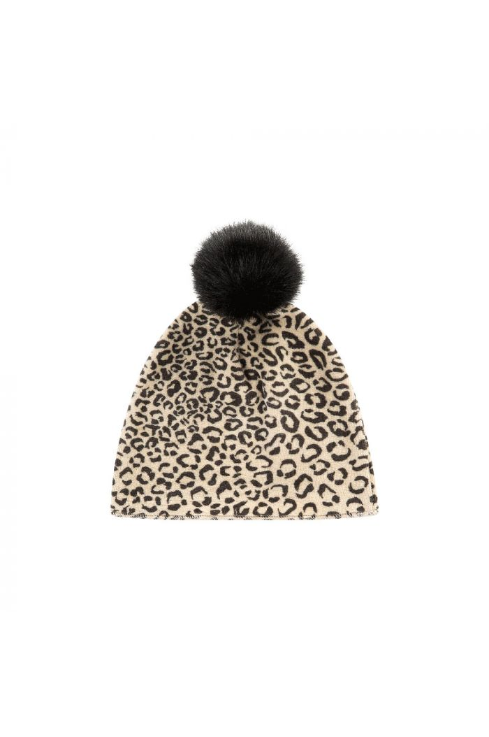 House Of Jamie Pom Pom Hat Snow Leopard