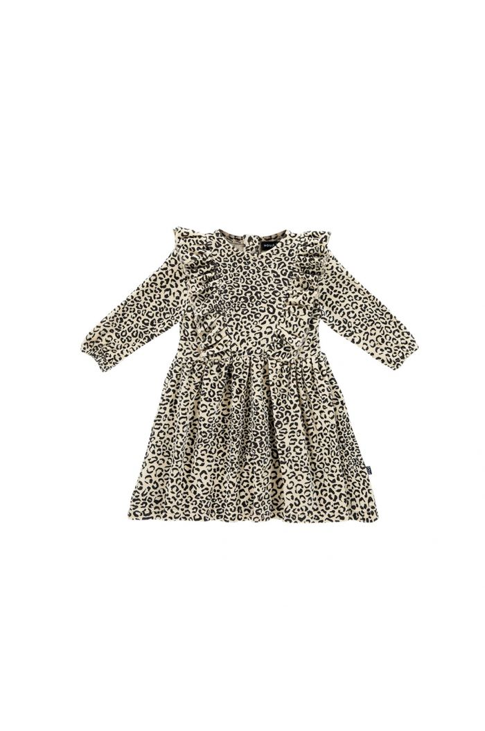 House Of Jamie Front Ruffled Dress Snow Leopard