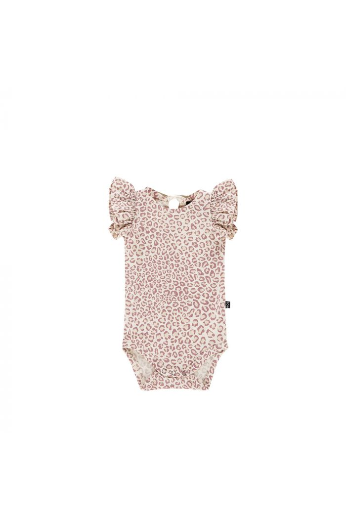 House Of Jamie Ruffled Bodysuit Orchid Leopard