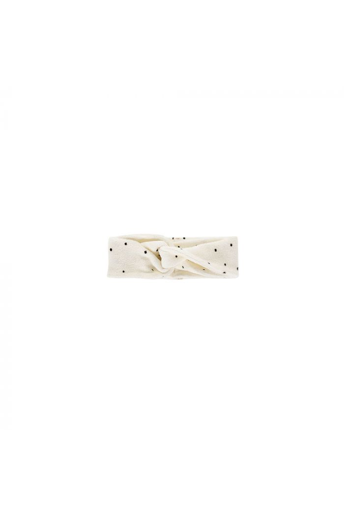 House Of Jamie Turban Headband Terry Cream Black Dots