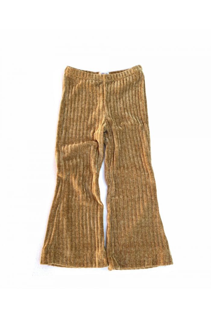 Longlivethequeen flared velvet pants ochre ribbed rib