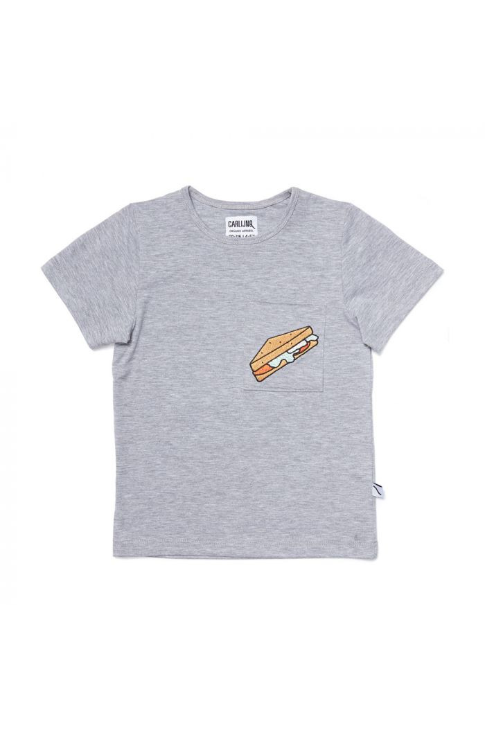 CarlijnQ t-shirt grey melange + embroidery sandwiches