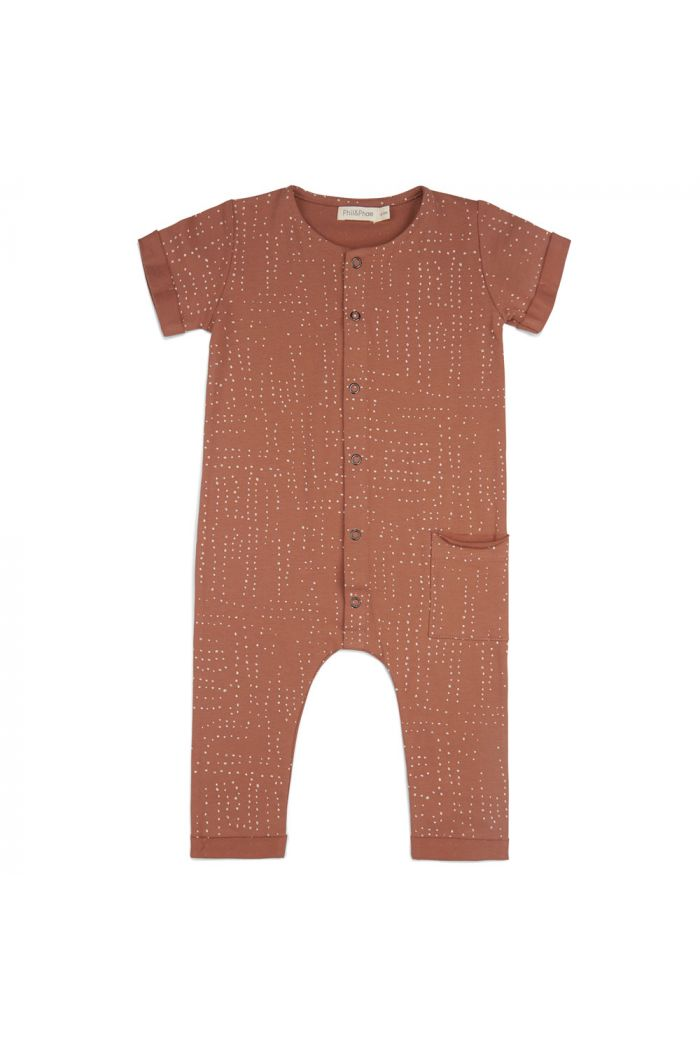 Phil&Phae One-pocket jumpsuit short sleeve All-over print burnt clay