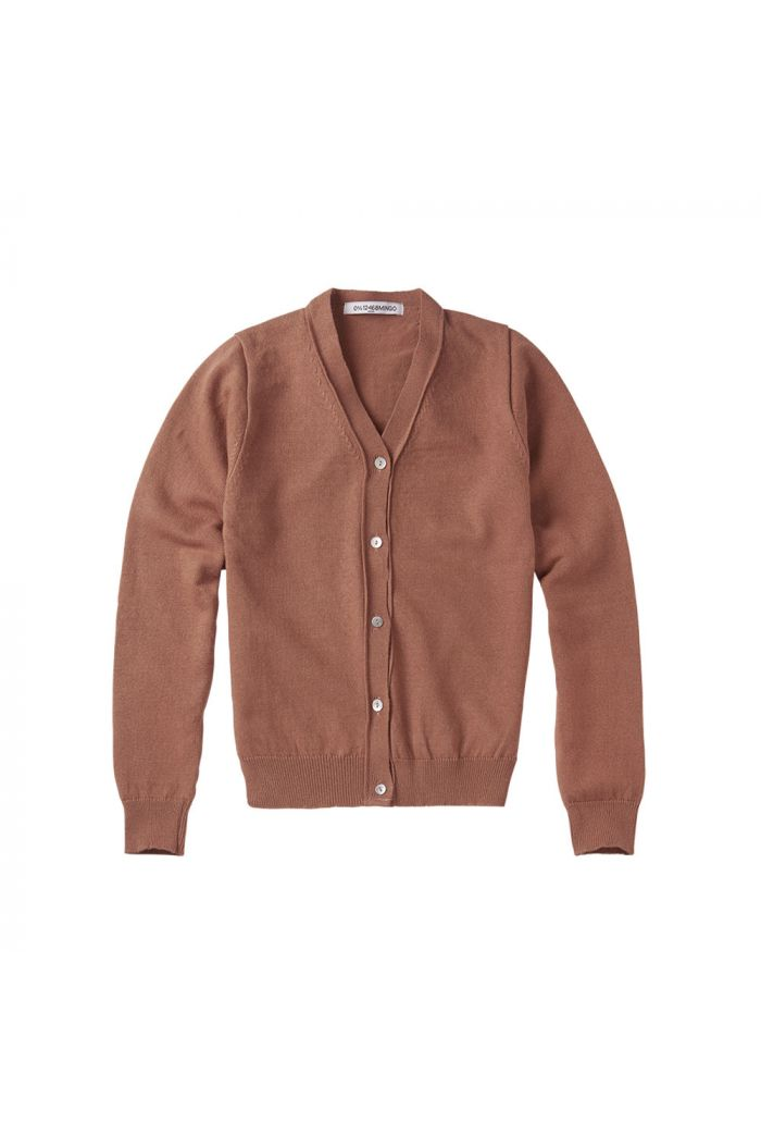 Mingo Cardigan Fine Knit Mid Brown