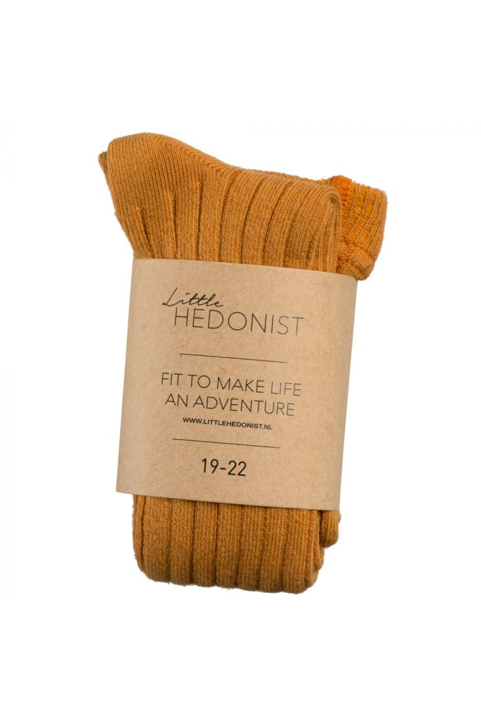 Little Hedonist Ribbed Tights Ochre