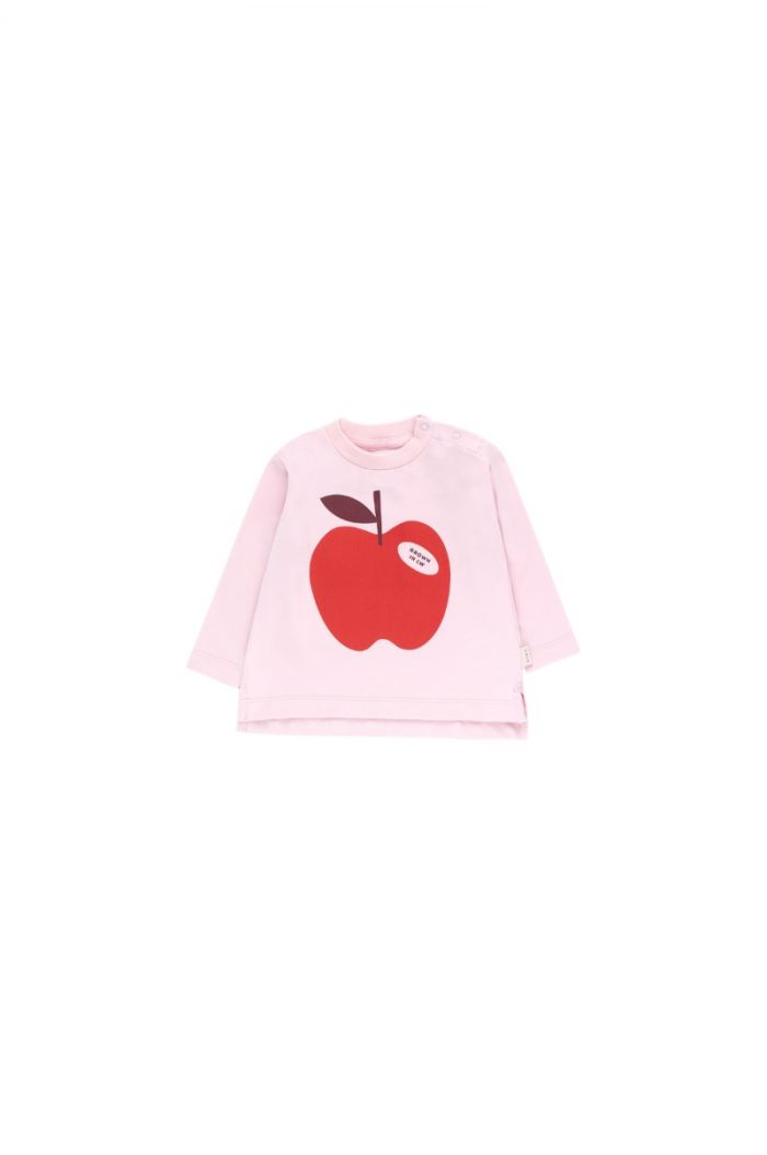 Tinycottons Apple Longsleeve Tee pale pink/burgundy