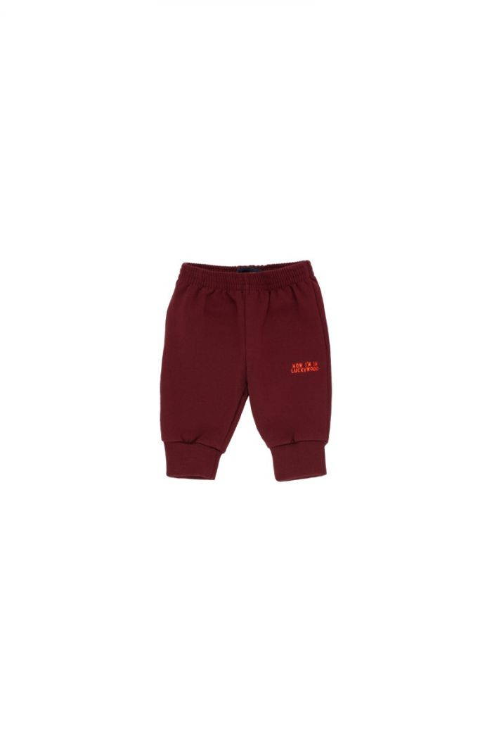 Tinycottons Luckywood Sign Sweatpant aubergine/red