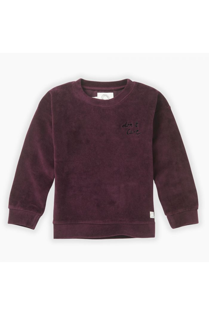 Sproet & Sprout Sweatshirt velvet Don't care Burgundy