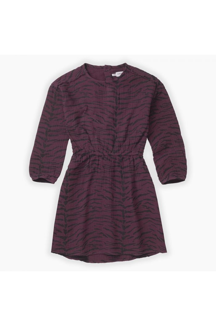 Sproet & Sprout Woven dress Tiger All-over print Burgundy