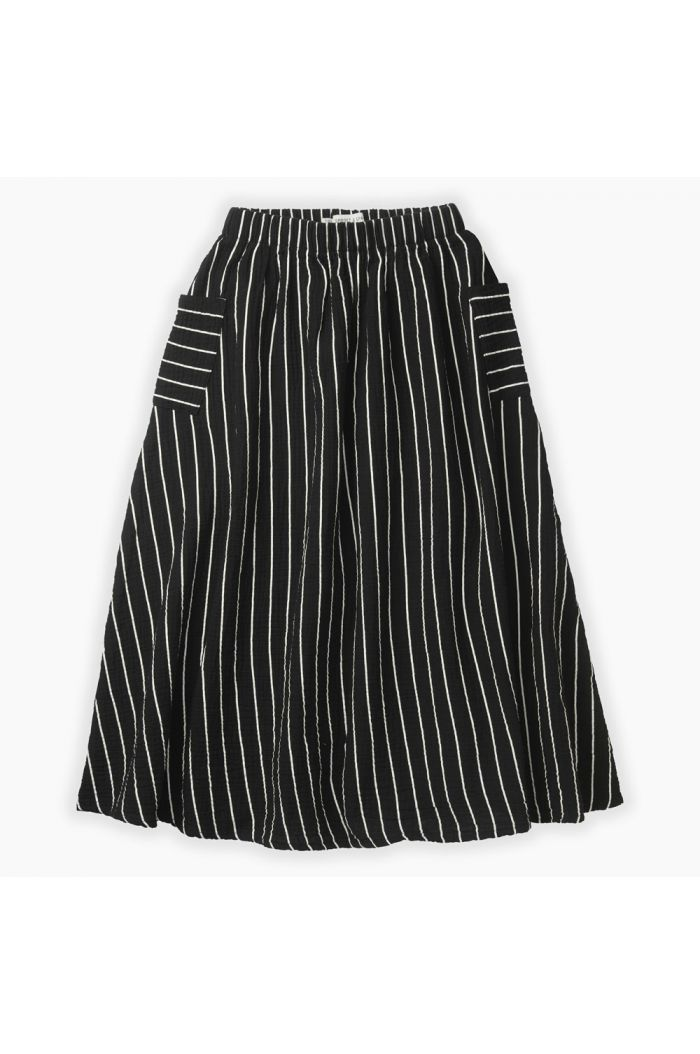 Sproet & Sprout Woven long skirt stripe Black stripe